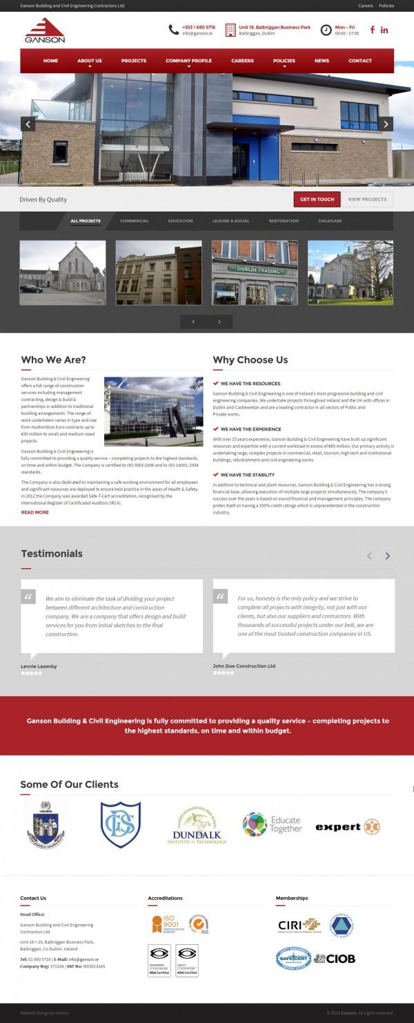 Ganson Building & Civil Engineering Web Design Ireland