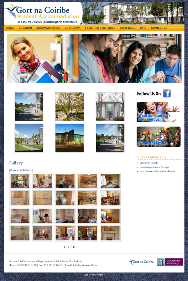Gort na Coiribe Student Accommodation Galway Web Design