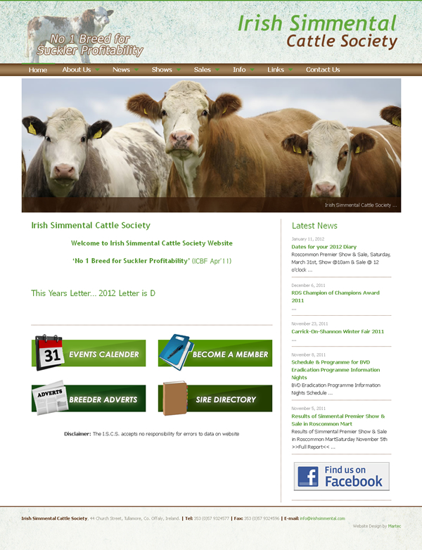 Irish Simmental Cattle Society Website Design