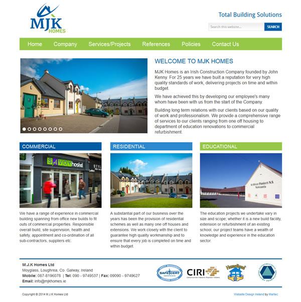 MJK Homes Ireland Logo Design and Website