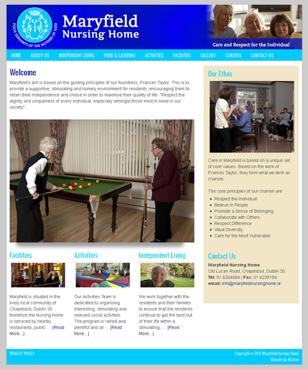 Maryfield Nursing Home Website Design