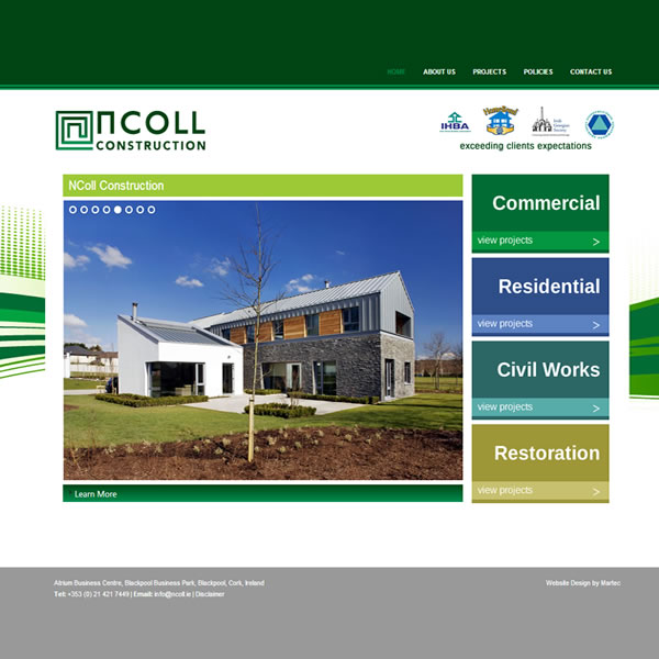 NColl Construction Website Design Cork Ireland