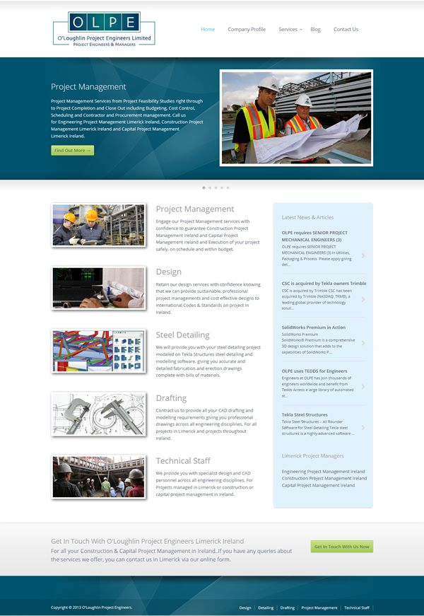 O'Loughlin Project Engineers Web Design Limerick