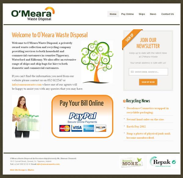 OMeara Waste Disposal Logo and Website Design