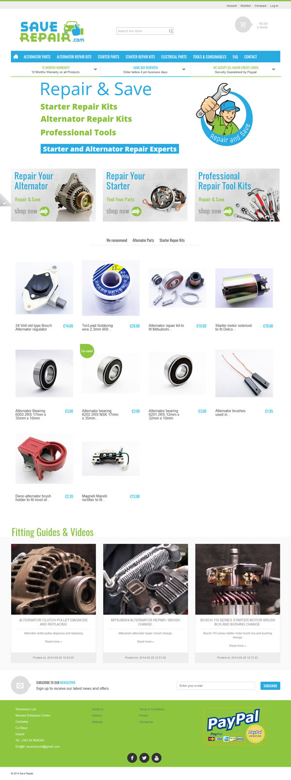 Save Repair Car Parts Ecommerce Web Design