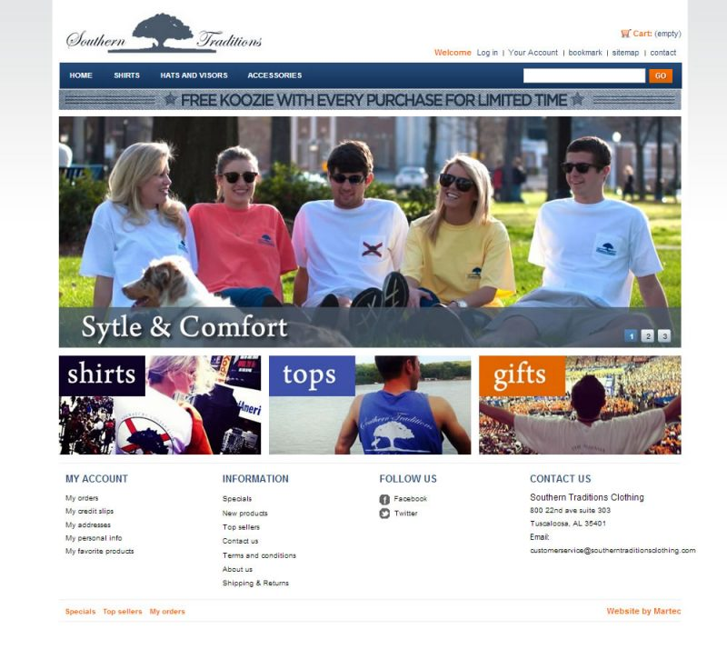 Southern Traditions Tshirt Ecommerce Website