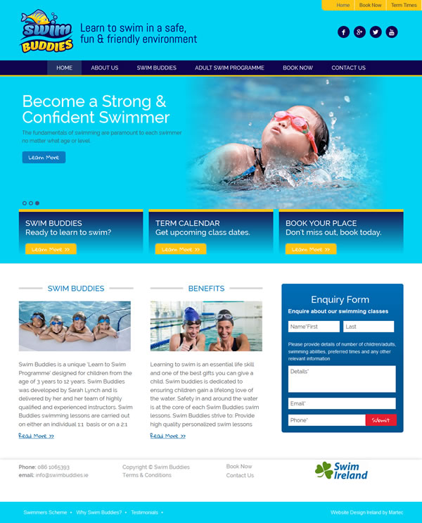 Swim Buddies Galway Web Site Design