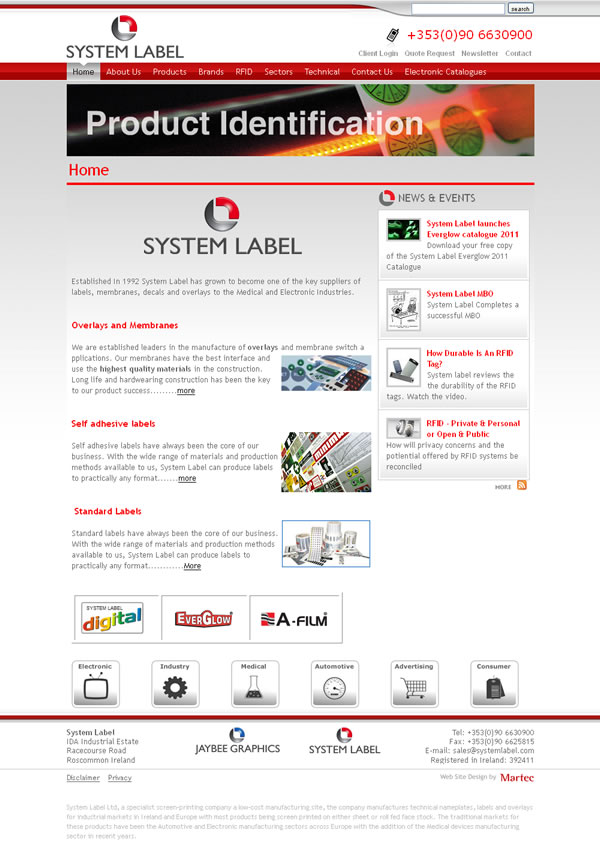 System Label CMS Website