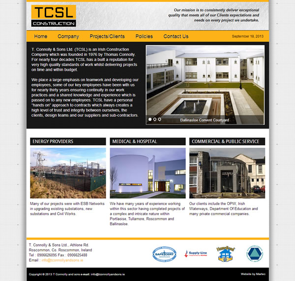 TCSL Construction Roscommon Logo & Website Design