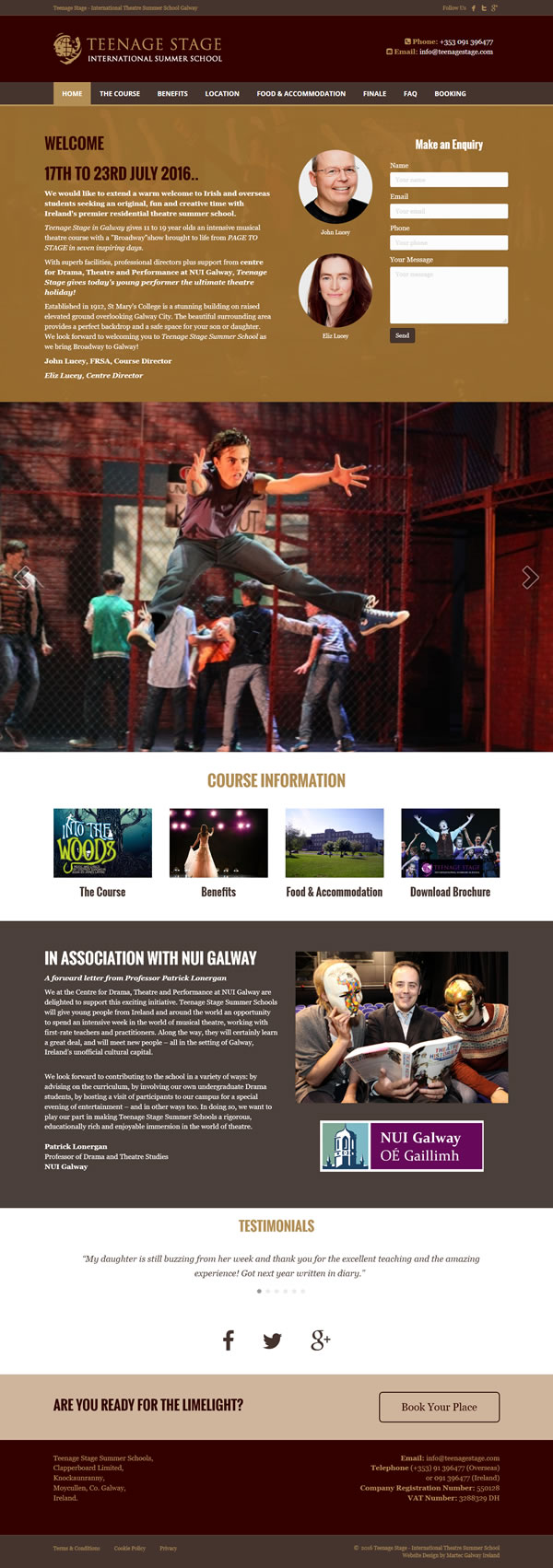 Teenage Stage Galway Logo & Website Design Ireland