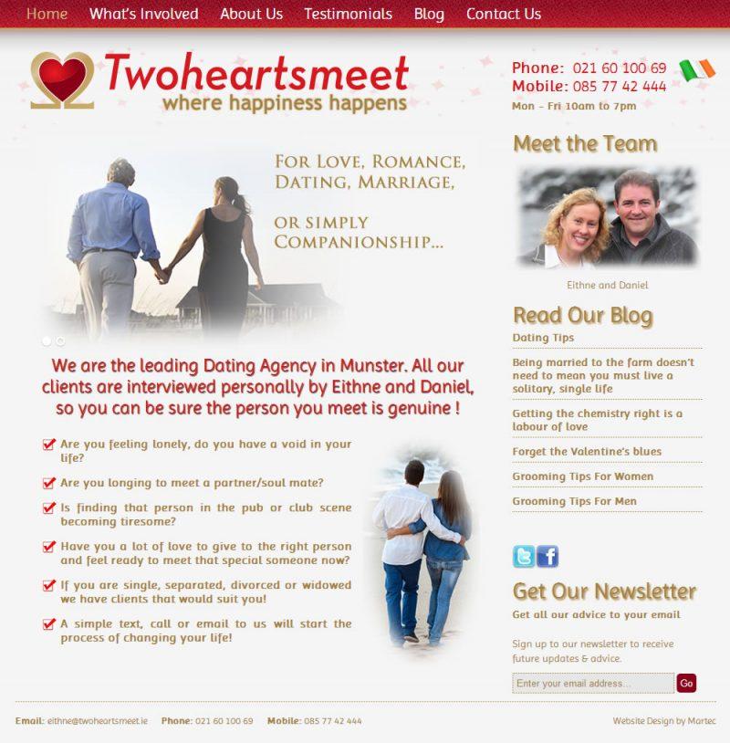 Twoheartsmeet Dating Agency Website Design Cork Ireland