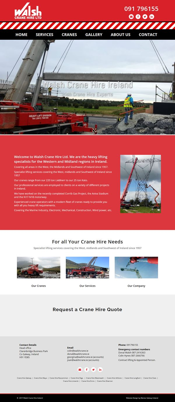 Walsh Crane Hire Web Design Galway