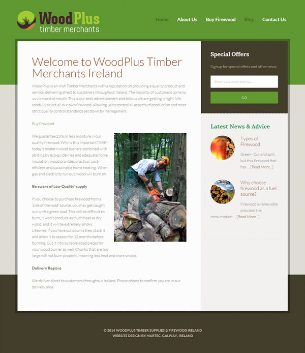 WoodPlus Ireland Logo Design and Website Design