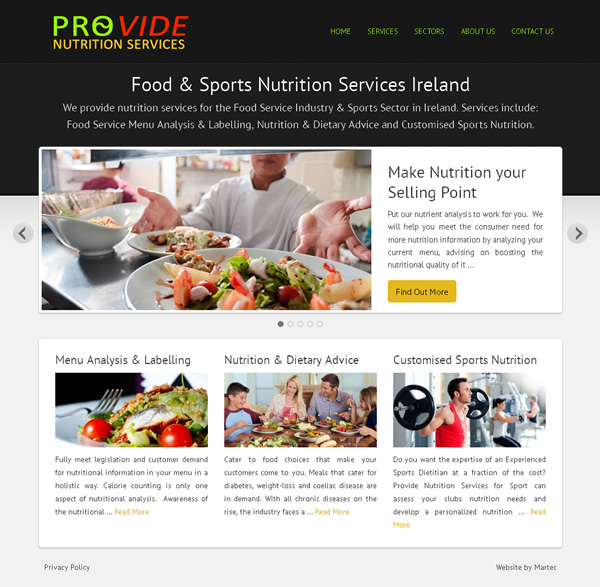 nutrition services ireland logo and web site design