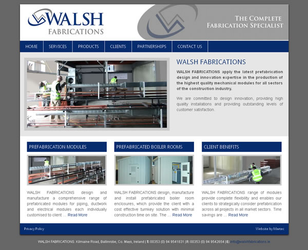 walsh fabrications mayo website design